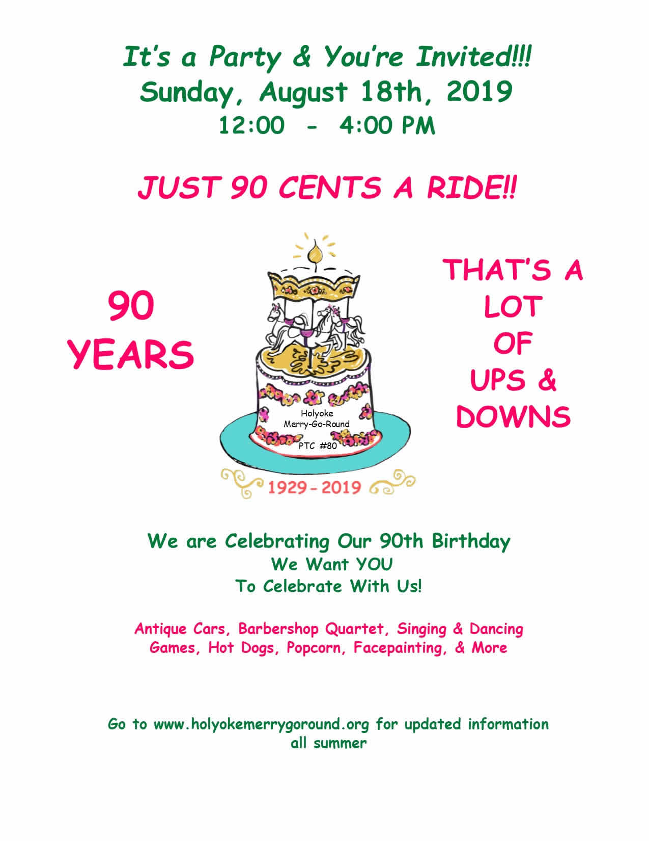 Holyoke Merry-Go-Round 90th Birthday Party