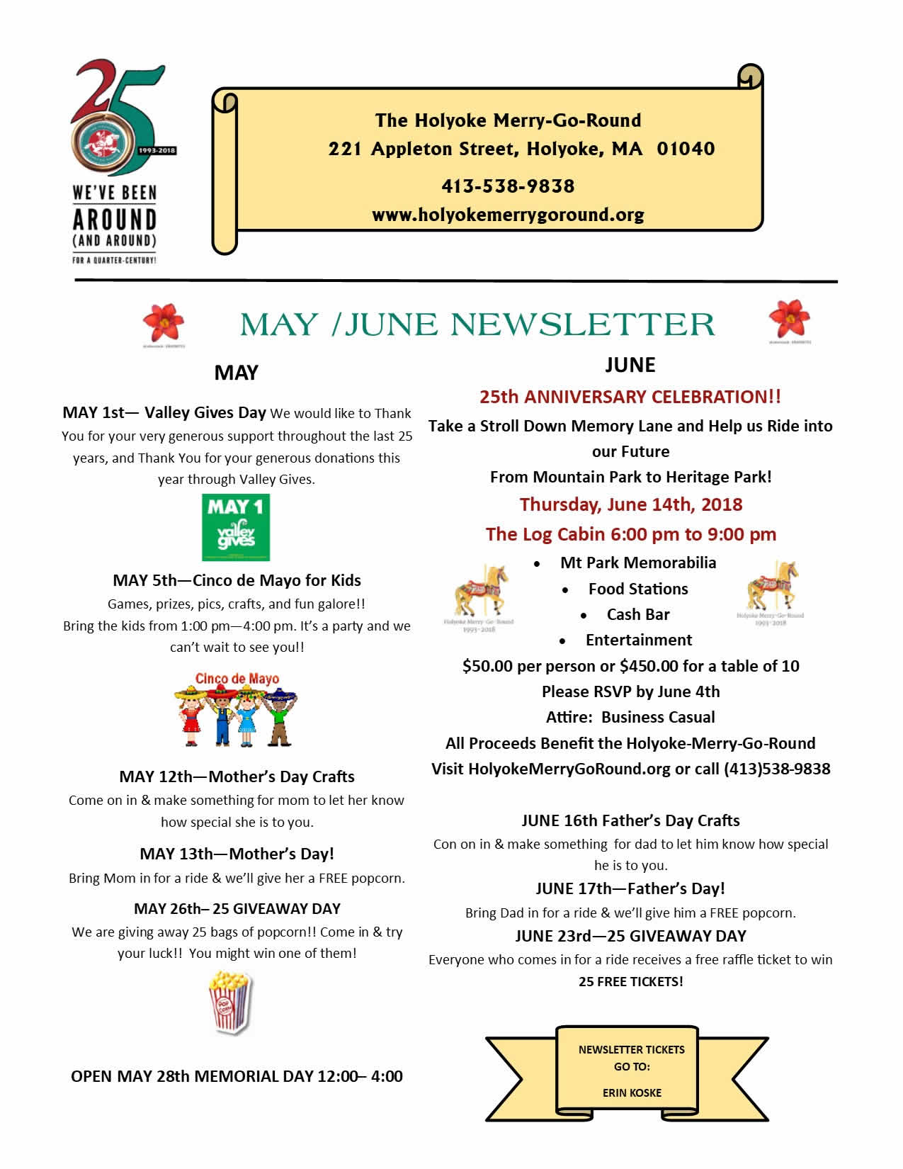 Holyoke Merry-Go-Round May & June Newsletter