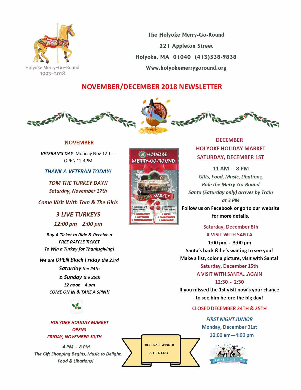 Holyoke Merry-Go-Round November & December Newsletter