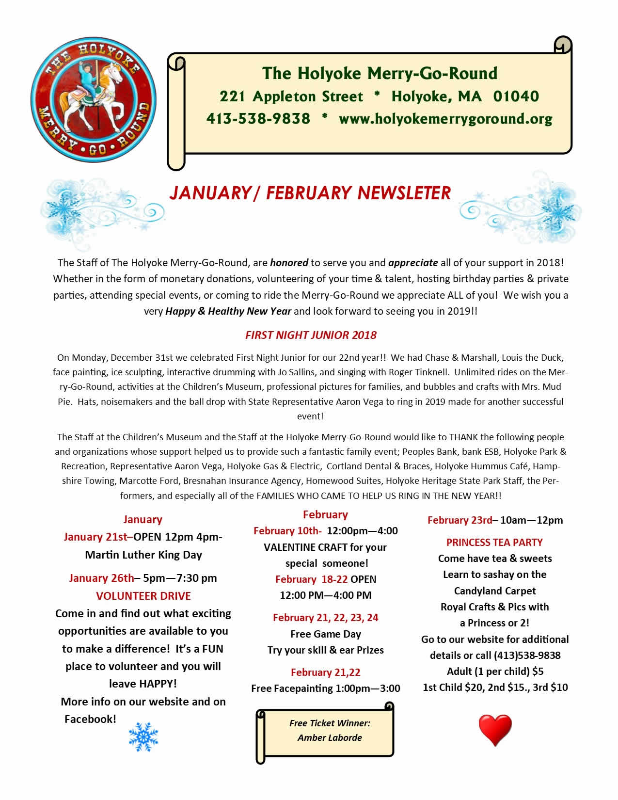 Holyoke Merry-Go-Round January & February Newsletter