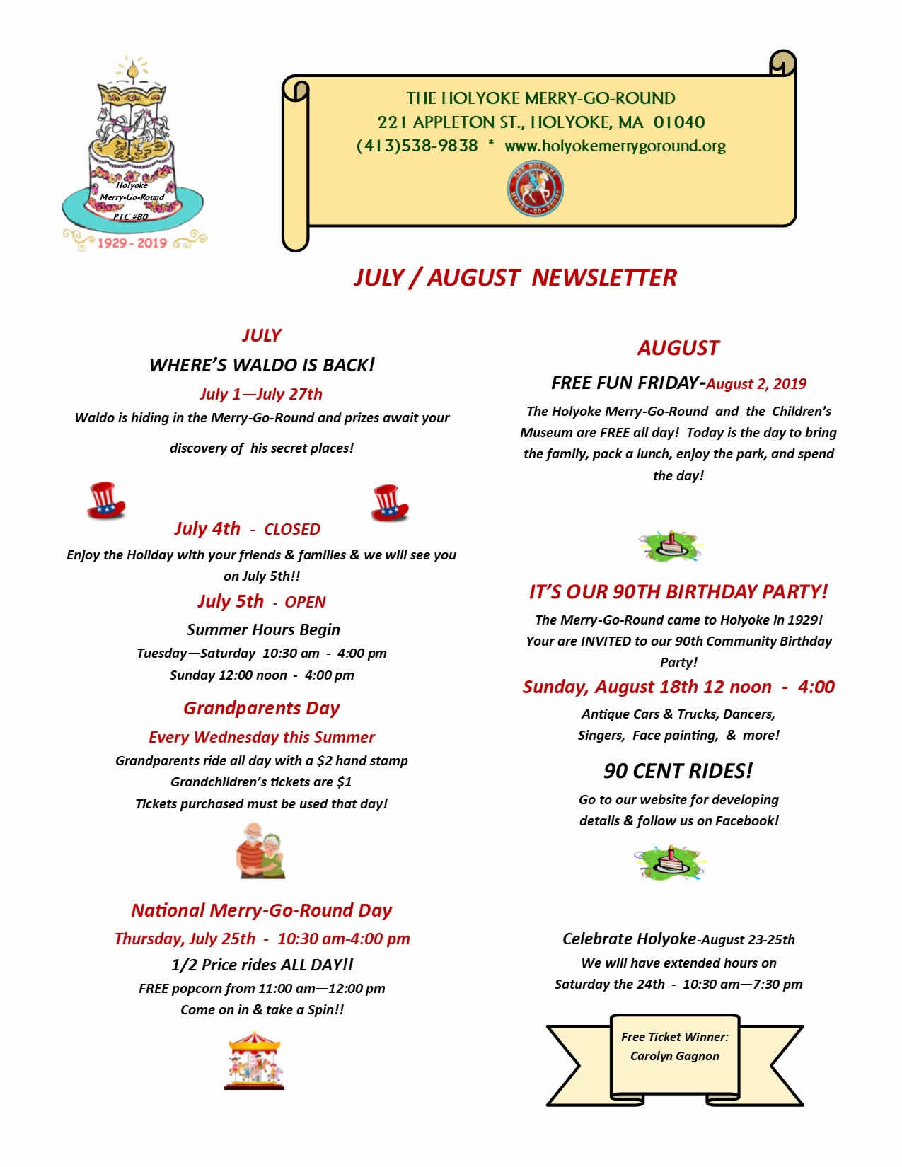 Holyoke Merry-Go-Round July & August Newsletter
